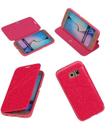 Bestcases Roze TPU Booktype Motief Hoesje voor Samsung Galaxy S6