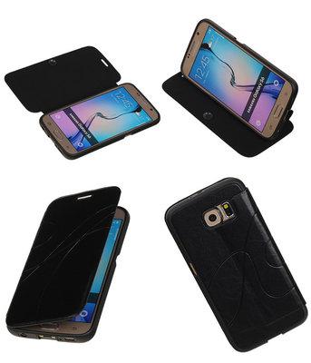Bestcases Zwart TPU Booktype Motief Hoesje voor Samsung Galaxy S6