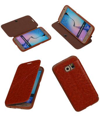 Bestcases Bruin TPU Booktype Motief Hoesje voor Samsung Galaxy S6