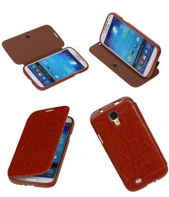Bestcases Bruin TPU Booktype Motief Hoesje voor Samsung Galaxy S4
