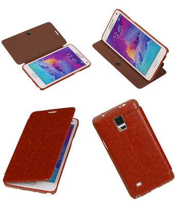 Bestcases Bruin TPU Booktype Motief Hoesje voor Samsung Galaxy Note 4