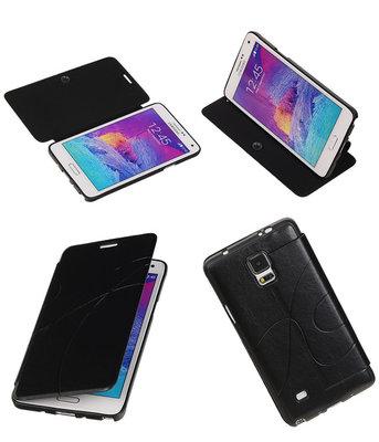 Bestcases Zwart TPU Booktype Motief Hoesje voor Samsung Galaxy Note 4