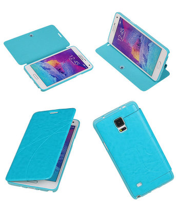 Bestcases Turquoise TPU Booktype Motief Hoesje voor Samsung Galaxy Note 4