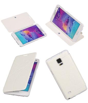 Bestcases Wit TPU Booktype Motief Hoesje voor Samsung Galaxy Note 4