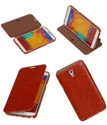 Bestcases Bruin TPU Booktype Motief Hoesje voor Samsung Galaxy Note 3 Neo