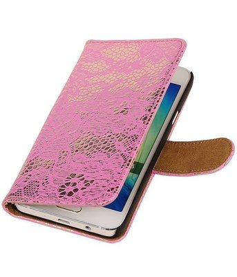 Hoesje voor Sony Xperia M4 Aqua Lace/Kant Booktype Wallet Roze