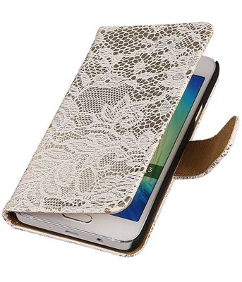 Hoesje voor Sony Xperia M4 Aqua Lace/Kant Booktype Wallet Wit