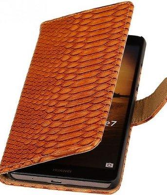 Hoesje voor Sony Xperia M4 Aqua Snake Booktype Wallet Bruin