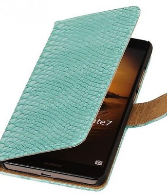 Hoesje voor Sony Xperia M4 Aqua Snake Booktype Wallet Turquoise