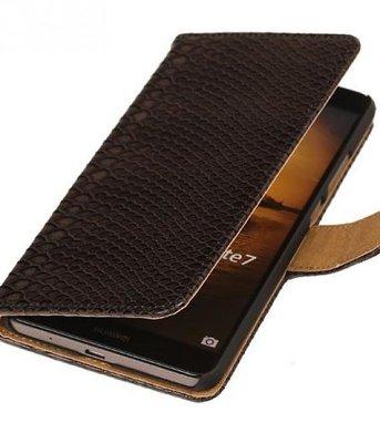Hoesje voor Sony Xperia M4 Aqua Snake Booktype Wallet Zwart
