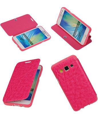 Bestcases Roze TPU Booktype Motief Hoesje voor Samsung Galaxy A3 2015