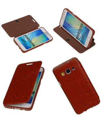Bestcases Bruin TPU Booktype Motief Hoesje voor Samsung Galaxy A3 2015
