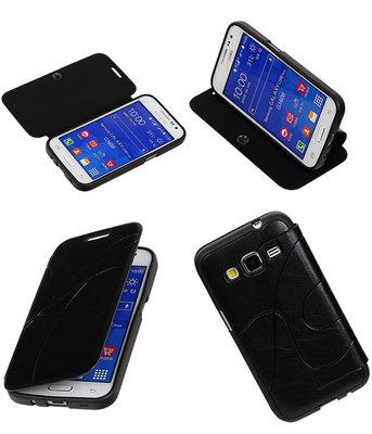 Bestcases Zwart TPU Booktype Motief Hoesje voor Samsung Galaxy Core Prime