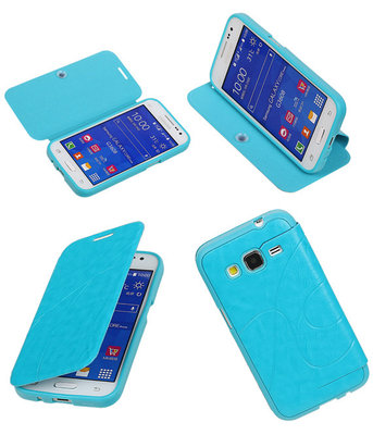 Bestcases Turquoise TPU Booktype Motief Hoesje Samsung Galaxy Core Prime