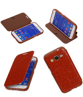 Bestcases Bruin TPU Booktype Motief Hoesje voor Samsung Galaxy Core Prime