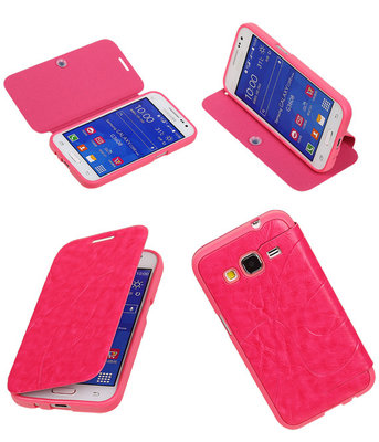 Bestcases Roze TPU Booktype Motief Hoesje voor Samsung Galaxy Core Prime