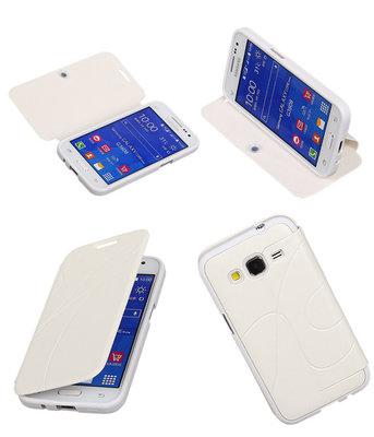 Bestcases Wit TPU Booktype Motief Hoesje voor Samsung Galaxy Core Prime