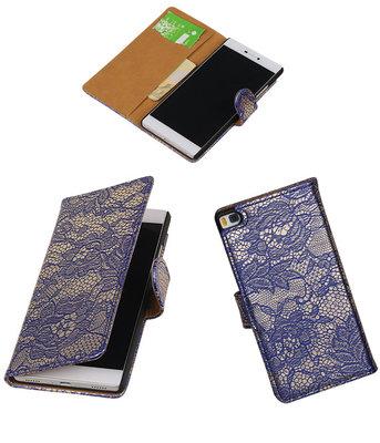 Hoesje voor Huawei P8 Lace/Kant Booktype Wallet Blauw