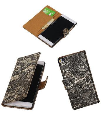 Huawei P8 Lace/Kant Booktype Wallet Hoesje Zwart