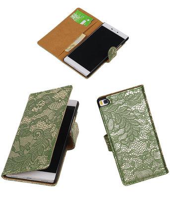 Huawei P8 Lace/Kant Booktype Wallet Hoesje Donker Groen