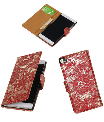 Huawei P8 Lace/Kant Booktype Wallet Hoesje Rood