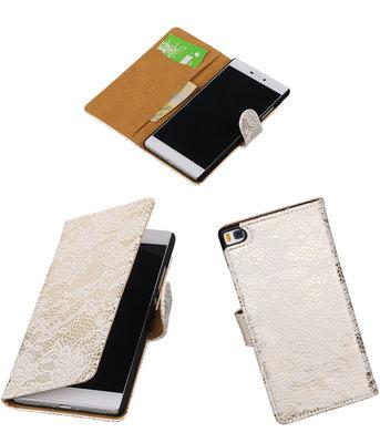 Huawei P8 Lace/Kant Booktype Wallet Hoesje Wit