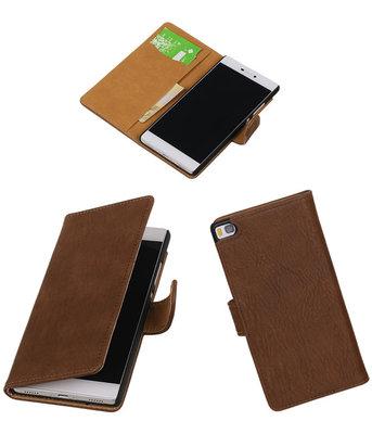 Hoesje voor Huawei P8 Bark Booktype Wallet Bruin