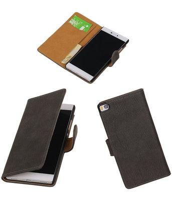 Hoesje voor Huawei P8 Bark Booktype Wallet Grijs