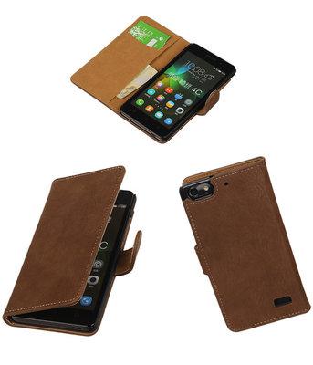 Hoesje voor Huawei Honor 4C Bark Booktype Wallet Bruin