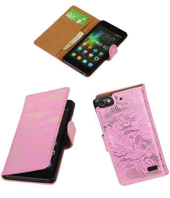 Hoesje voor Huawei Honor 4C Lace Booktype Wallet Roze