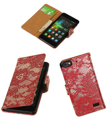 Hoesje voor Huawei Honor 4C Lace Booktype Wallet Rood