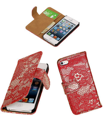 Lace Rood iPhone 5 5s Book/Wallet Case/Cover Hoesje