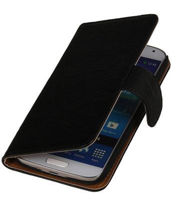 Echt Leer Bookcase Zwart - Hoesje voor Nokia Lumia 630