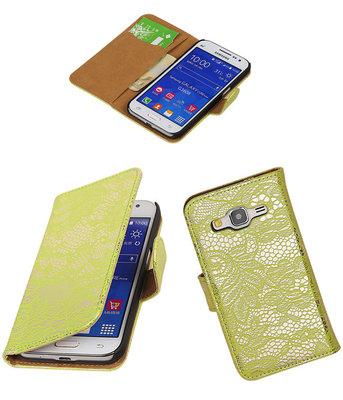 Hoesje voor Samsung Galaxy Core Prime Lace Bookstyle Wallet Groen
