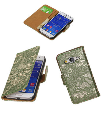 Hoesje voor Samsung Galaxy Core Prime Lace Bookstyle Wallet Donker Groen