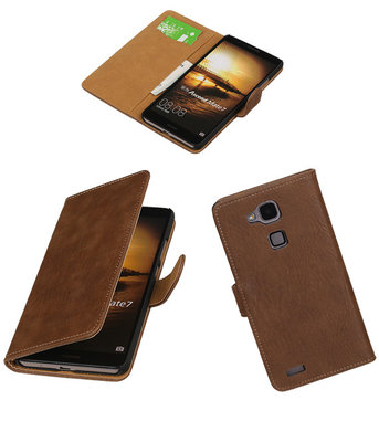 Bruin Hout Hoesje voor Huawei Ascend Mate 7 Book/Wallet Case/Cover