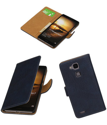 Blauw Hout Huawei Ascend Mate 7 Book/Wallet Case/Cover