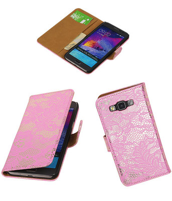 Hoesje voor Samsung Galaxy Grand Max Lace Booktype Wallet Roze