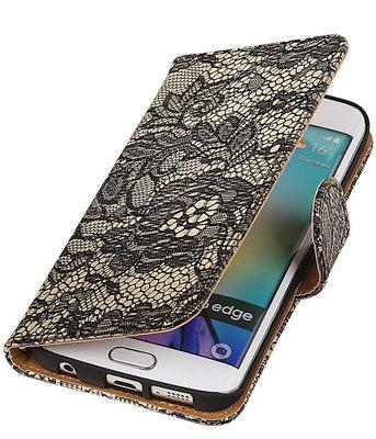 Samsung Galaxy S6 Edge Lace Booktype Wallet Hoesje Zwart