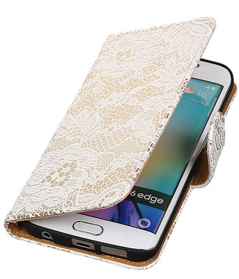 Samsung Galaxy S6 Edge Lace Booktype Wallet Hoesje Wit