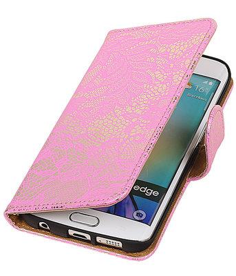 Hoesje voor Samsung Galaxy S6 Edge Lace Booktype Wallet Roze