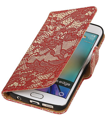 Hoesje voor Samsung Galaxy S6 Edge Lace Booktype Wallet Rood