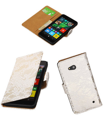 Hoesje voor Microsoft Lumia 640 Lace Booktype Wallet Wit