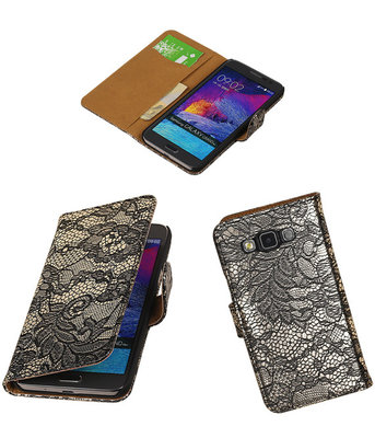 Hoesje voor Samsung Galaxy Grand Max Lace Booktype Wallet Zwart