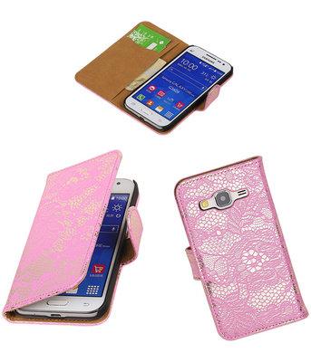 Hoesje voor Samsung Galaxy Core Prime Lace Bookstyle Wallet Roze