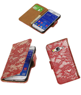 Hoesje voor Samsung Galaxy Core Prime Lace Bookstyle Wallet Rood