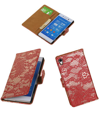 Hoesje voor Sony Xperia Z4/Z3 Plus Lace Kant Booktype Wallet Rood