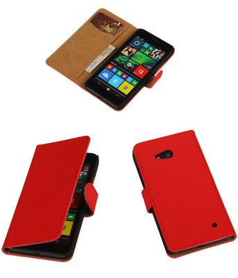 Hoesje voor Microsoft Lumia 640 Effen Booktype Wallet Rood