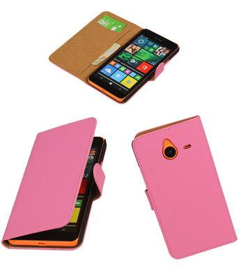 Microsoft Lumia 640 XL Effen Booktype Wallet Hoesje Roze