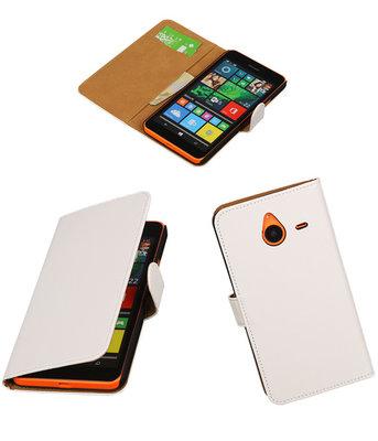 Microsoft Lumia 640 XL Effen Booktype Wallet Hoesje Wit